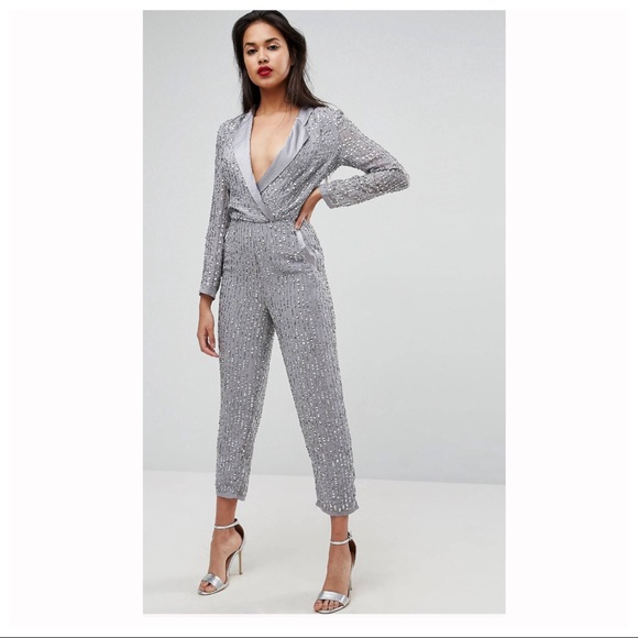 6ee877fb7778 ASOS Embellished Tux Silver Jumpsuit Sequin